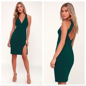 Lulus Forest Green Backless Bodycon Dress Size L